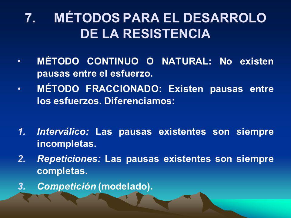 7.MÉTODOS PARA EL DESARROLO DE LA RESISTENCIA MÉTODO CONTINUO O NATURAL: No existen pausas entre el esfuerzo. MÉTODO FRACCIONADO: Existen pausas entre