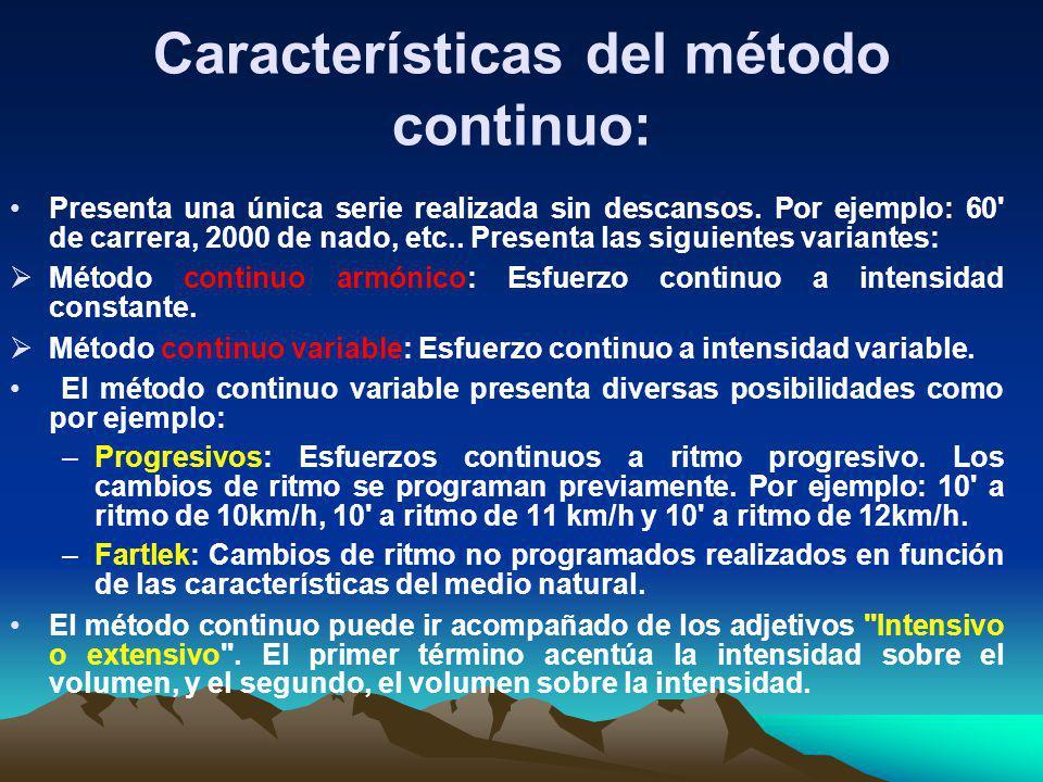 Características del método continuo: Presenta una única serie realizada sin descansos. Por ejemplo: 60' de carrera, 2000 de nado, etc.. Presenta las s