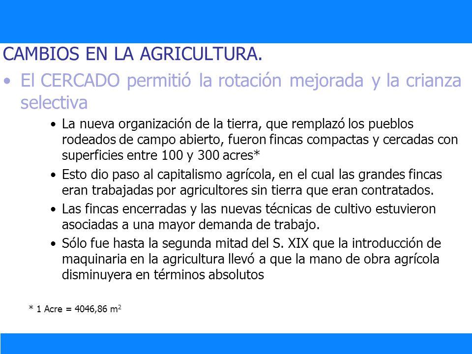 CAMBIOS EN LA AGRICULTURA. El CERCADO permitió la rotación mejorada y la crianza selectiva La nueva organización de la tierra, que remplazó los pueblo