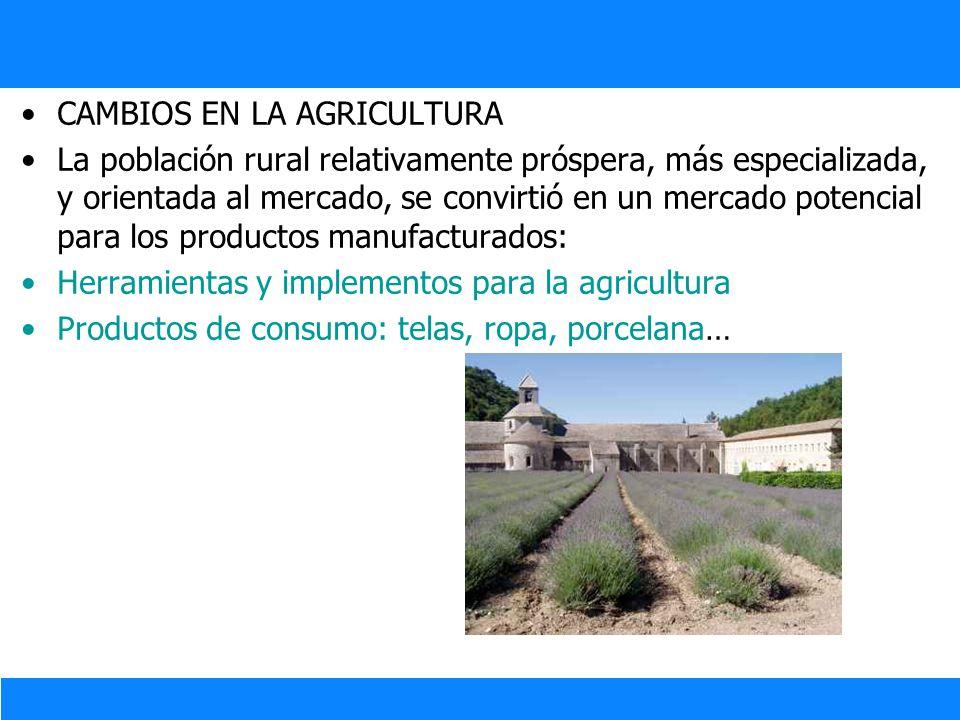 CAMBIOS EN LA AGRICULTURA La población rural relativamente próspera, más especializada, y orientada al mercado, se convirtió en un mercado potencial p