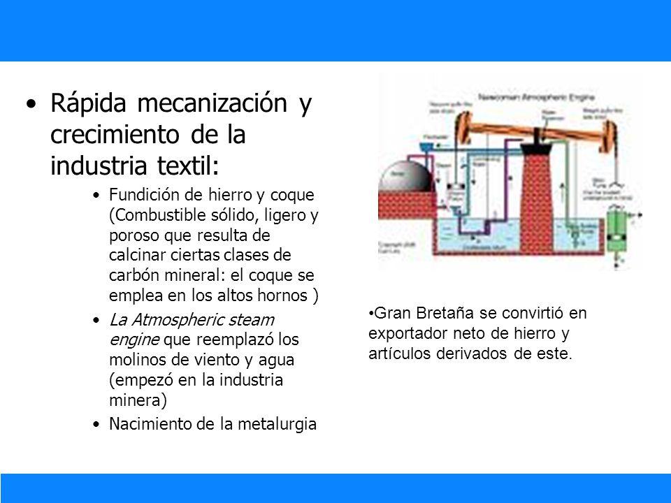 Innovación y Tecnología Industrial Rápida mecanización y crecimiento de la industria textil: Fundición de hierro y coque (Combustible sólido, ligero y