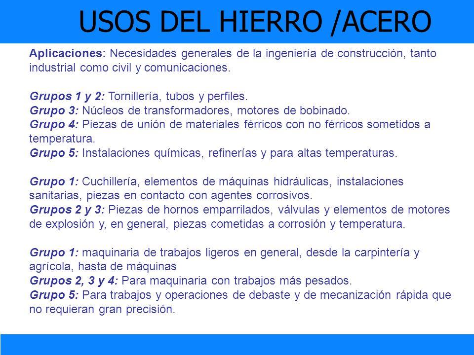 USOS DEL HIERRO /ACERO Aplicaciones: Necesidades generales de la ingeniería de construcción, tanto industrial como civil y comunicaciones. Grupos 1 y