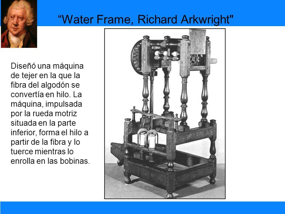 Diseñó una máquina de tejer en la que la fibra del algodón se convertía en hilo. La máquina, impulsada por la rueda motriz situada en la parte inferio