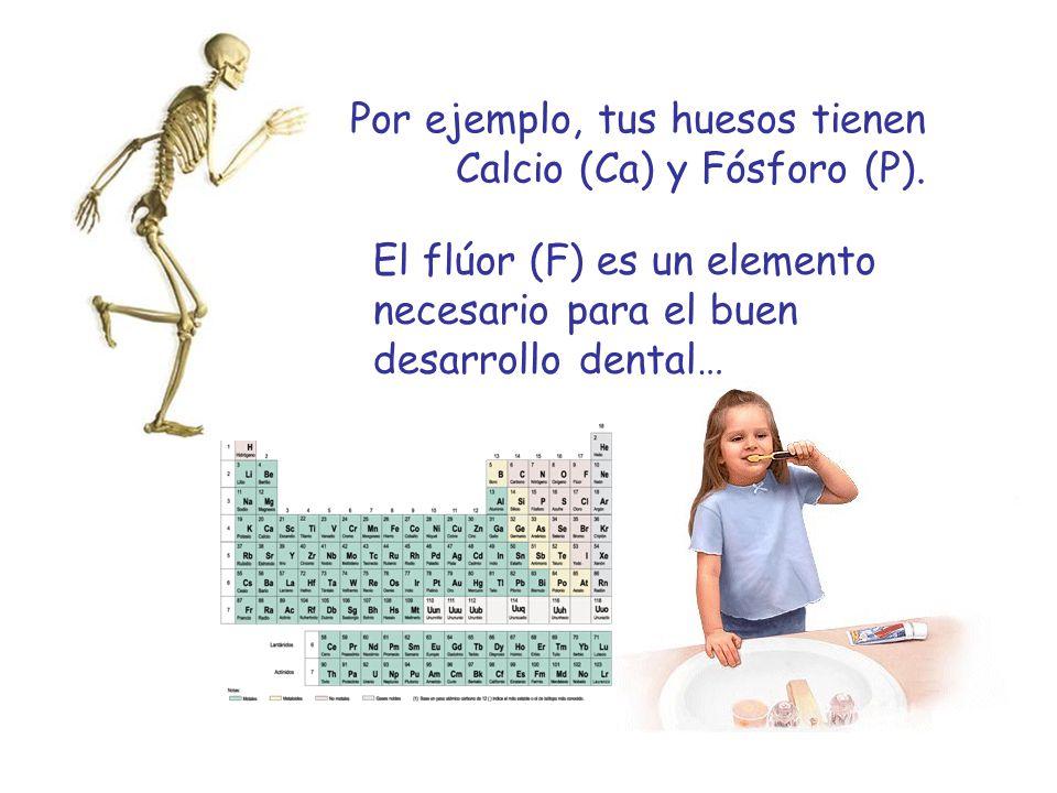 Por ejemplo, tus huesos tienen Calcio (Ca) y Fósforo (P). El flúor (F) es un elemento necesario para el buen desarrollo dental…