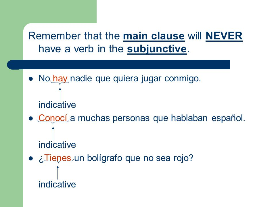 Remember that the main clause will NEVER have a verb in the subjunctive. No hay nadie que quiera jugar conmigo. indicative Conocí a muchas personas qu