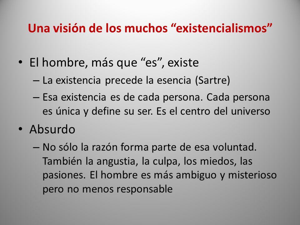 Una visión de los muchos existencialismos El hombre, más que es, existe – La existencia precede la esencia (Sartre) – Esa existencia es de cada person