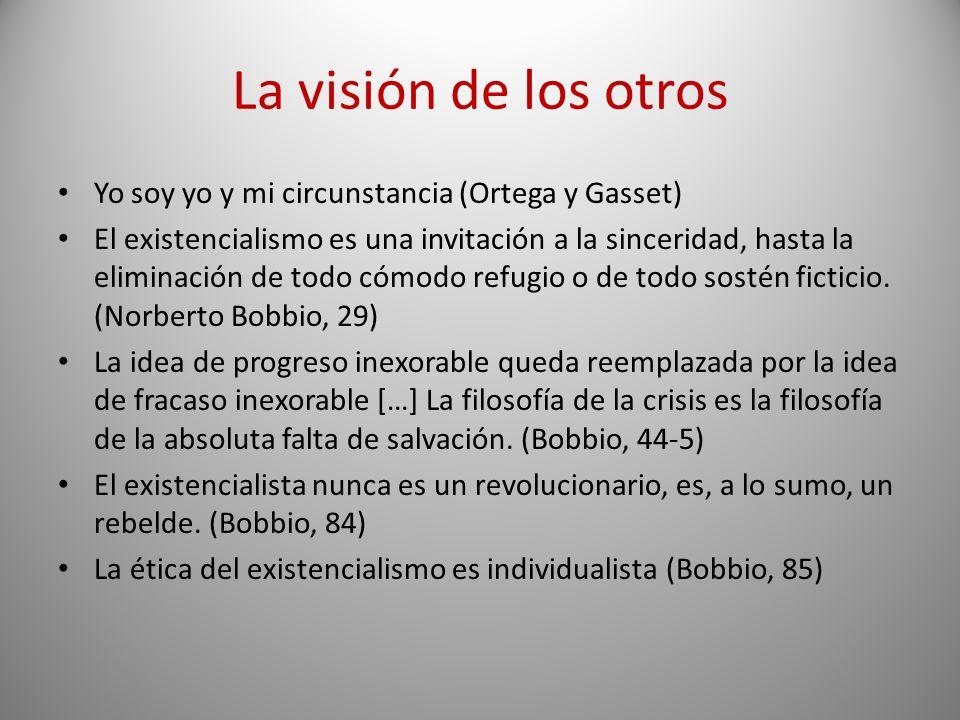 La visión de los otros Yo soy yo y mi circunstancia (Ortega y Gasset) El existencialismo es una invitación a la sinceridad, hasta la eliminación de to