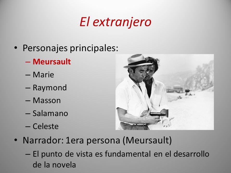 El extranjero Personajes principales: – Meursault – Marie – Raymond – Masson – Salamano – Celeste Narrador: 1era persona (Meursault) – El punto de vis