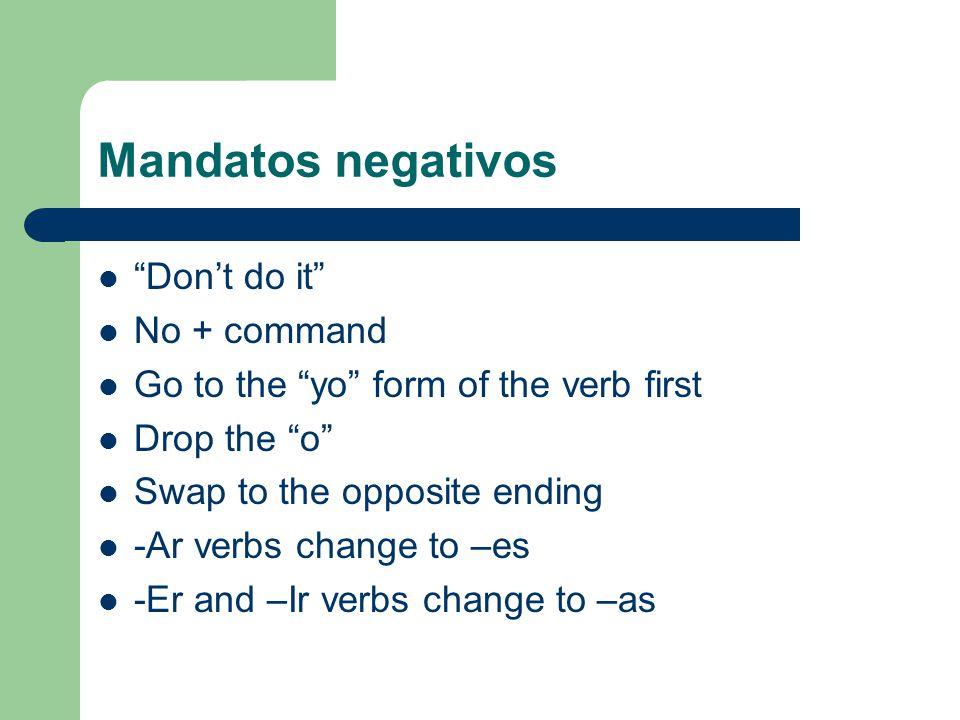 ¿Cómo se dice en español….Dont talk. Dont write. Dont eat in class.