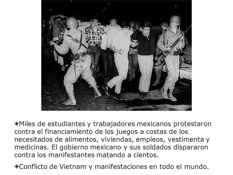 Miles de estudiantes y trabajadores mexicanos protestaron contra el financiamiento de los juegos a costas de los necesitados de alimentos, viviendas,