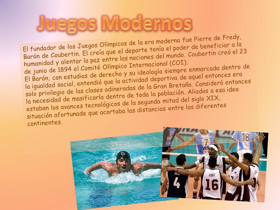 El fundador de los Juegos Olímpicos de la era moderna fue Pierre de Fredy, Barón de Coubertin. El creía que el deporte tenía el poder de beneficiar a