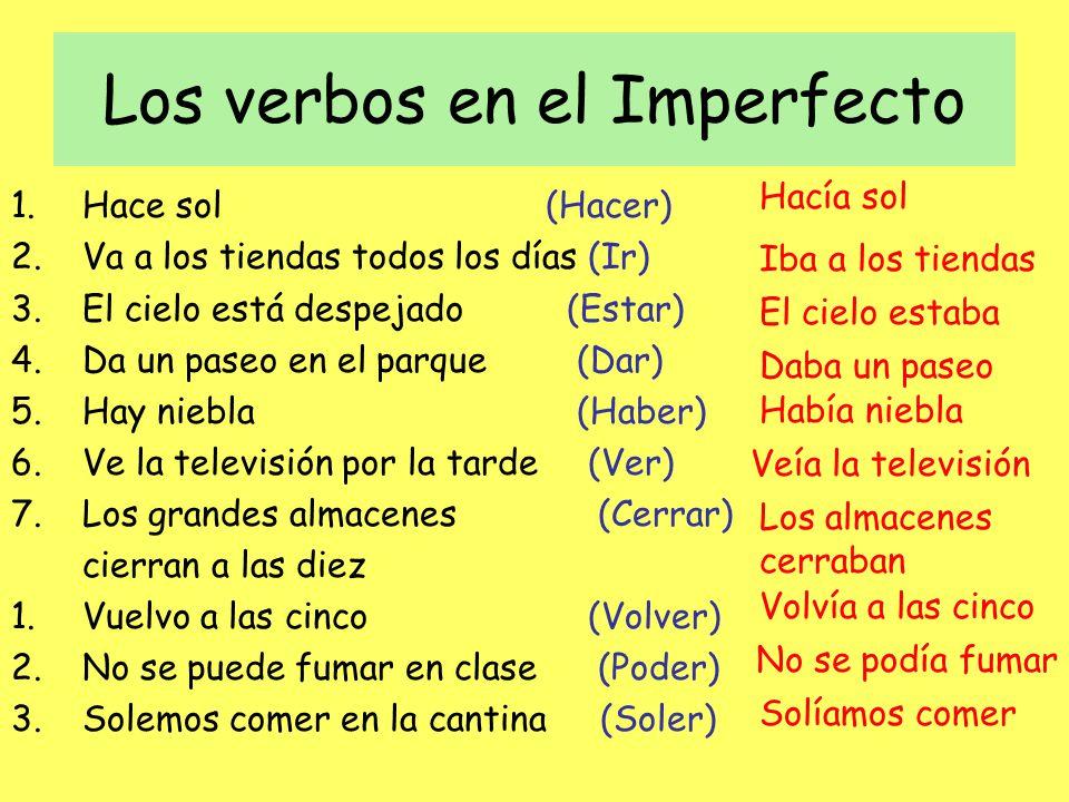 Los verbos en el Imperfecto 1.Hace sol(Hacer) 2.Va a los tiendas todos los días (Ir) 3.El cielo está despejado (Estar) 4.Da un paseo en el parque (Dar