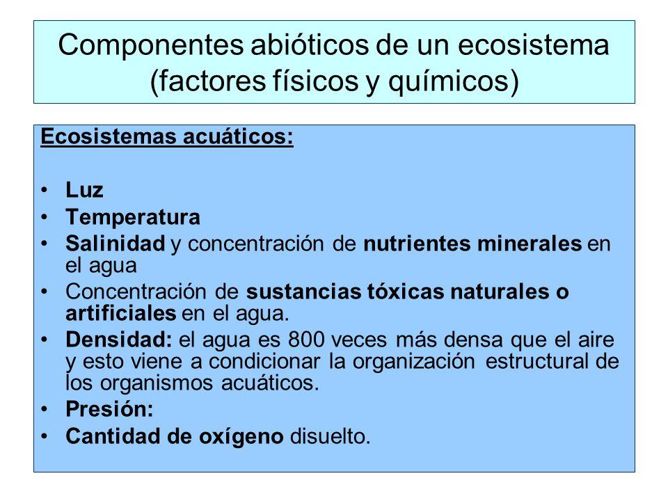 Ecosistemas acuáticos: Luz Temperatura Salinidad y concentración de nutrientes minerales en el agua Concentración de sustancias tóxicas naturales o artificiales en el agua.