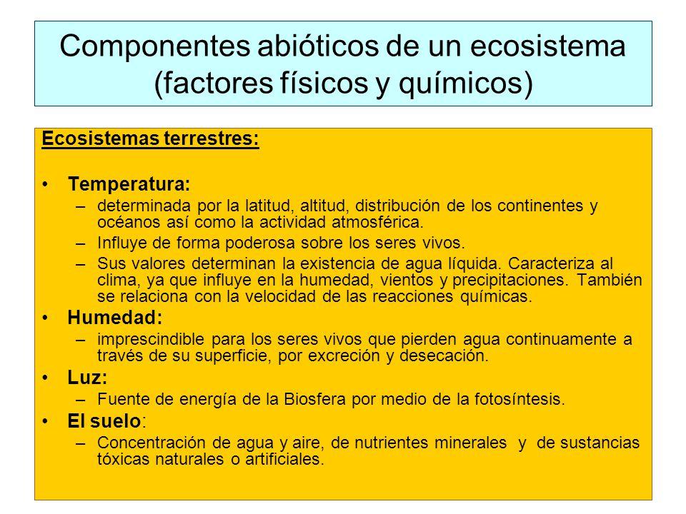 Componentes abióticos de un ecosistema (factores físicos y químicos) Ecosistemas terrestres: Temperatura: –determinada por la latitud, altitud, distribución de los continentes y océanos así como la actividad atmosférica.