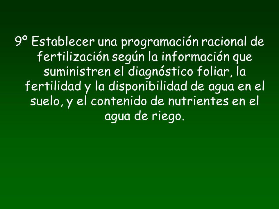 9º Establecer una programación racional de fertilización según la información que suministren el diagnóstico foliar, la fertilidad y la disponibilidad