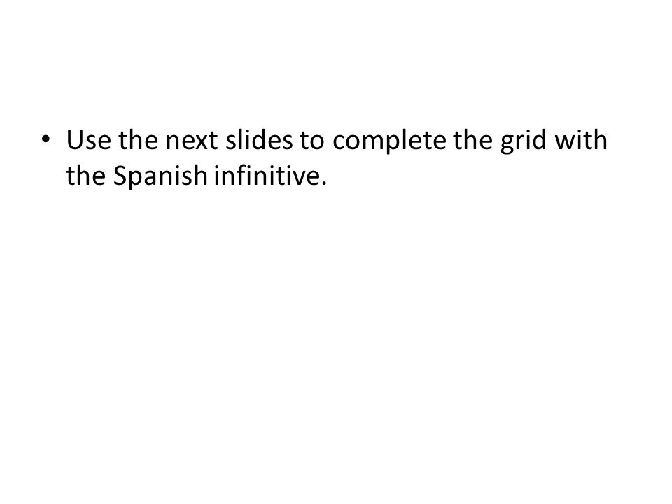 Use the next slides to complete the grid with the Spanish infinitive.