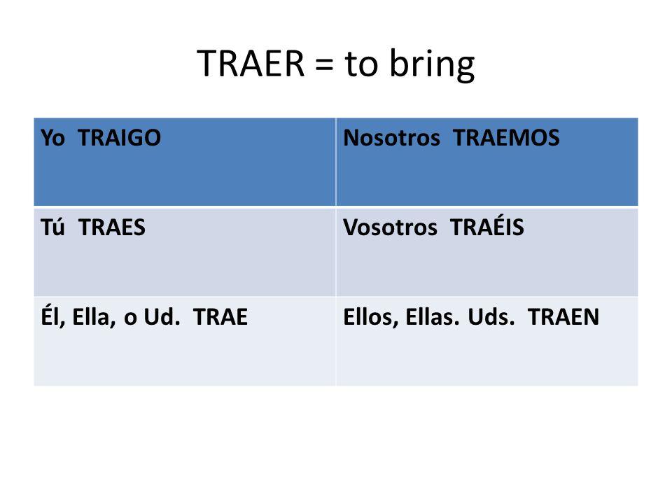 TRAER = to bring Yo TRAIGONosotros TRAEMOS Tú TRAESVosotros TRAÉIS Él, Ella, o Ud.