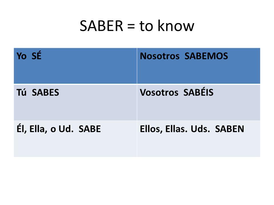 SABER = to know Yo SÉNosotros SABEMOS Tú SABESVosotros SABÉIS Él, Ella, o Ud.