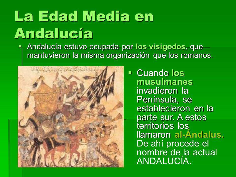 La Edad Media en Andalucía Andalucía estuvo ocupada por los visigodos, que mantuvieron la misma organización que los romanos. Andalucía estuvo ocupada