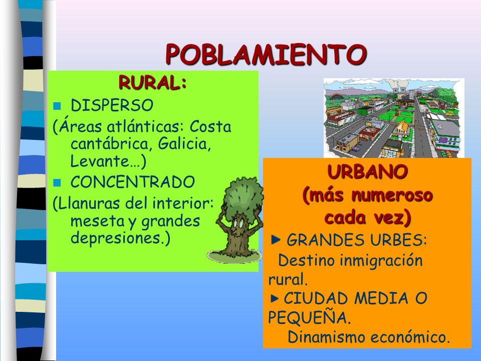 POBLAMIENTO RURAL: DISPERSO (Áreas atlánticas: Costa cantábrica, Galicia, Levante…) CONCENTRADO (Llanuras del interior: meseta y grandes depresiones.)