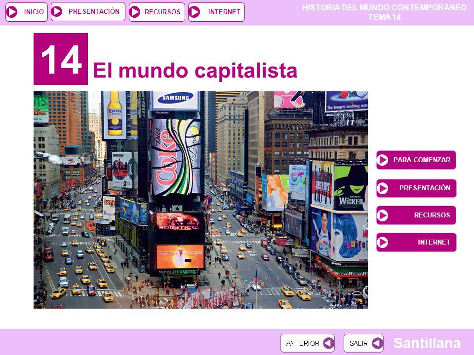 HISTORIA DEL MUNDO CONTEMPORÁNEO TEMA 14 RECURSOSINTERNETPRESENTACIÓN Santillana INICIO 14 El mundo capitalista PARA COMENZAR PRESENTACIÓN RECURSOS IN