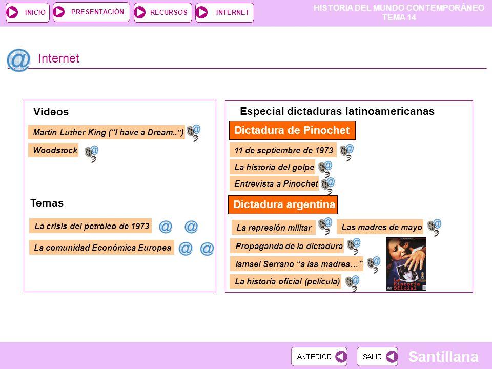HISTORIA DEL MUNDO CONTEMPORÁNEO TEMA 14 RECURSOSINTERNETPRESENTACIÓN Santillana INICIO Internet Dictadura de Pinochet Dictadura argentina Videos Espe