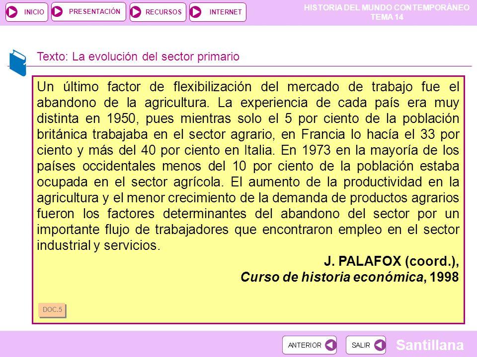 HISTORIA DEL MUNDO CONTEMPORÁNEO TEMA 14 RECURSOSINTERNETPRESENTACIÓN Santillana INICIO Texto: La evolución del sector primario Un último factor de fl