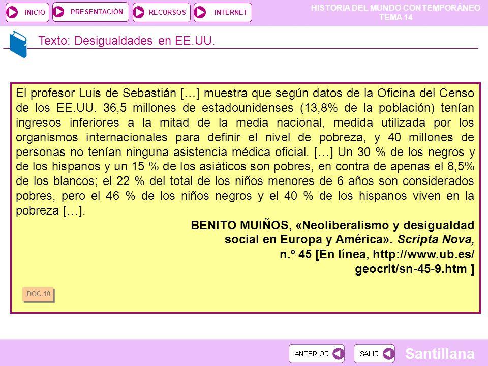 HISTORIA DEL MUNDO CONTEMPORÁNEO TEMA 14 RECURSOSINTERNETPRESENTACIÓN Santillana INICIO Texto: Desigualdades en EE.UU. El profesor Luis de Sebastián [