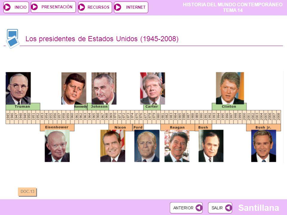 HISTORIA DEL MUNDO CONTEMPORÁNEO TEMA 14 RECURSOSINTERNETPRESENTACIÓN Santillana INICIO Los presidentes de Estados Unidos (1945-2008) DOC.13