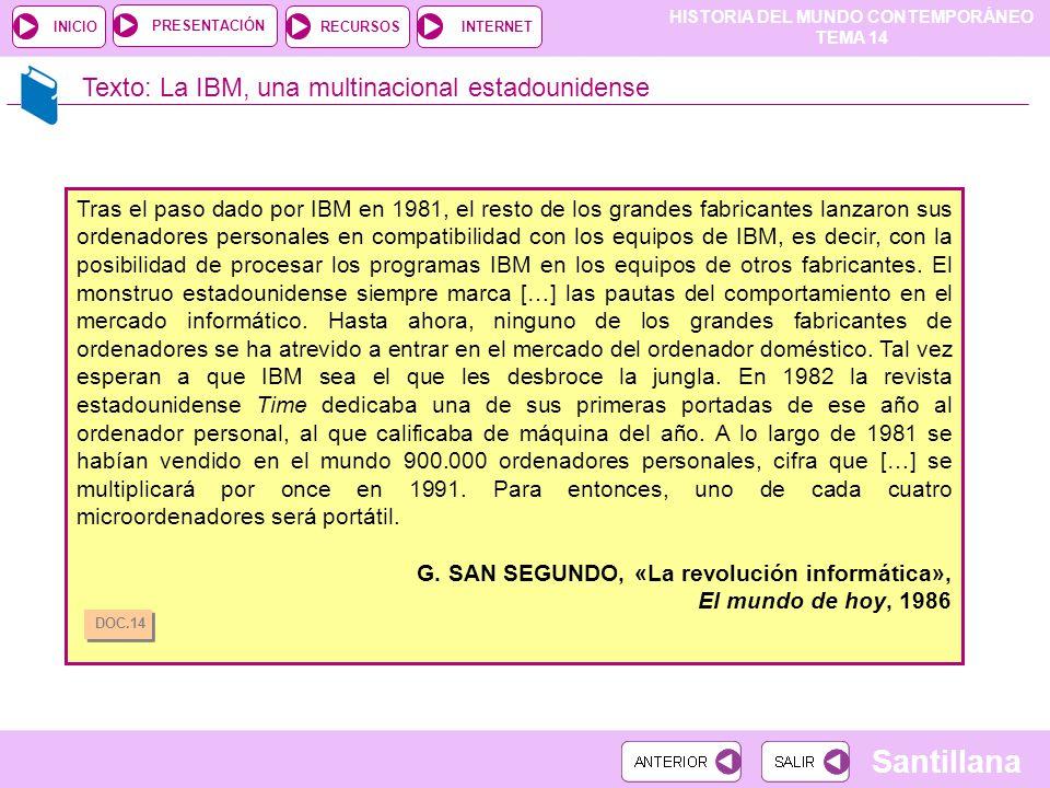 HISTORIA DEL MUNDO CONTEMPORÁNEO TEMA 14 RECURSOSINTERNETPRESENTACIÓN Santillana INICIO Texto: La IBM, una multinacional estadounidense Tras el paso d
