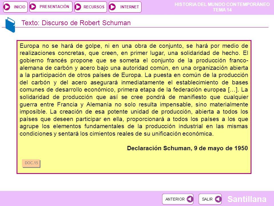 HISTORIA DEL MUNDO CONTEMPORÁNEO TEMA 14 RECURSOSINTERNETPRESENTACIÓN Santillana INICIO Texto: Discurso de Robert Schuman Europa no se hará de golpe,