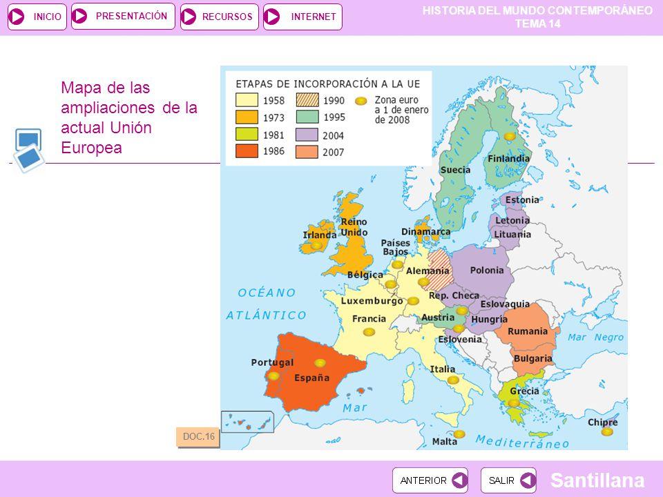 HISTORIA DEL MUNDO CONTEMPORÁNEO TEMA 14 RECURSOSINTERNETPRESENTACIÓN Santillana INICIO Mapa de las ampliaciones de la actual Unión Europea DOC.16