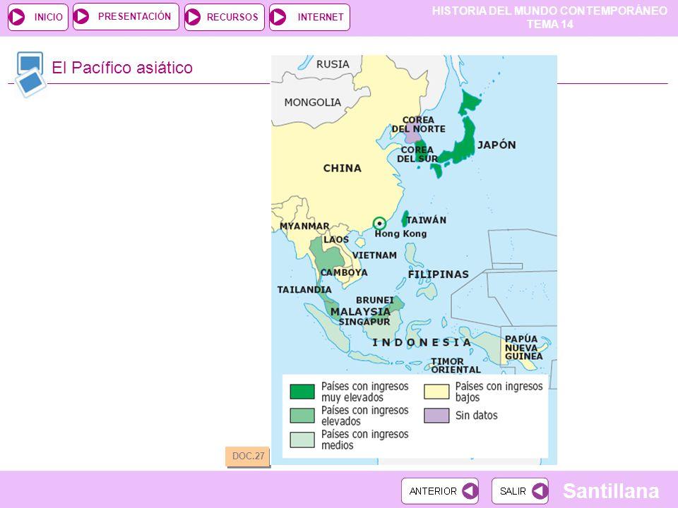 HISTORIA DEL MUNDO CONTEMPORÁNEO TEMA 14 RECURSOSINTERNETPRESENTACIÓN Santillana INICIO El Pacífico asiático DOC.27