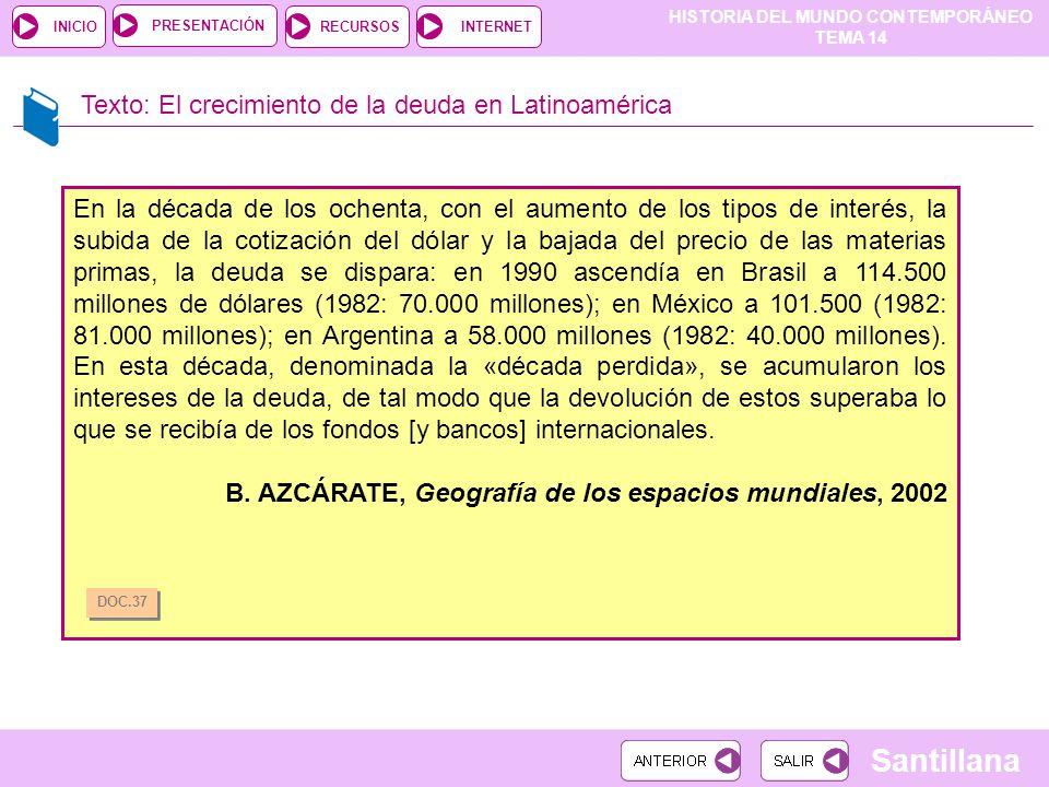 HISTORIA DEL MUNDO CONTEMPORÁNEO TEMA 14 RECURSOSINTERNETPRESENTACIÓN Santillana INICIO Texto: El crecimiento de la deuda en Latinoamérica En la décad