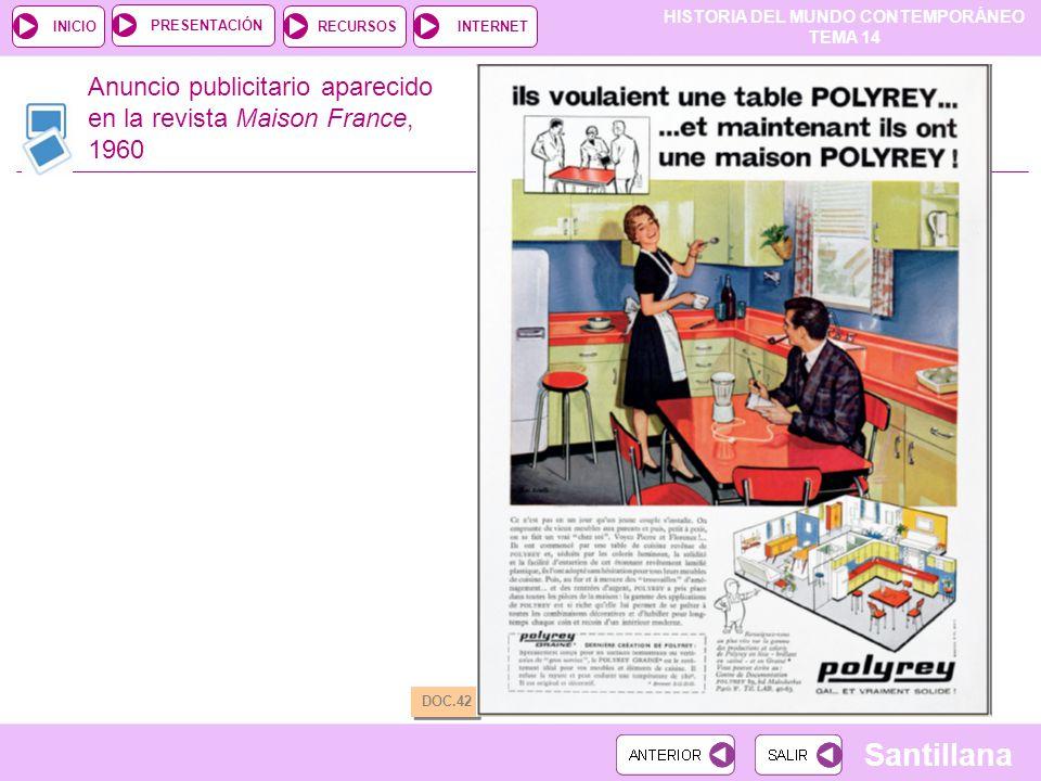HISTORIA DEL MUNDO CONTEMPORÁNEO TEMA 14 RECURSOSINTERNETPRESENTACIÓN Santillana INICIO Anuncio publicitario aparecido en la revista Maison France, 19