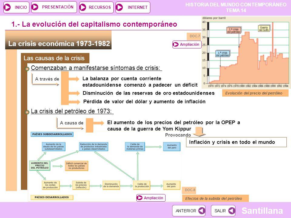 HISTORIA DEL MUNDO CONTEMPORÁNEO TEMA 14 RECURSOSINTERNETPRESENTACIÓN Santillana INICIO La crisis económica 1973-1982 Comenzaban a manifestarse síntom