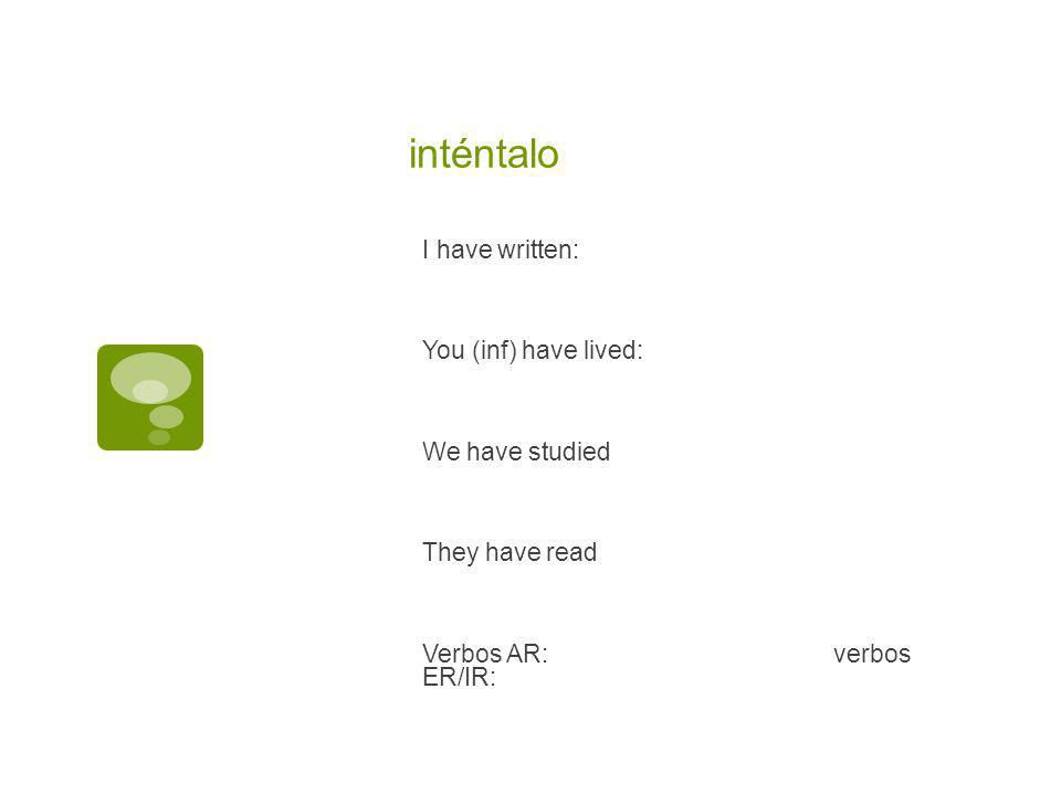 inténtalo I have written: You (inf) have lived: We have studied They have read Verbos AR:verbos ER/IR: