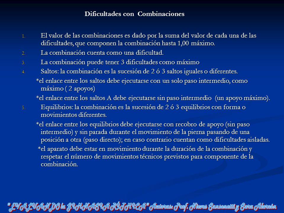 Dificultades con Combinaciones 1. El valor de las combinaciones es dado por la suma del valor de cada una de las dificultades, que componen la combina