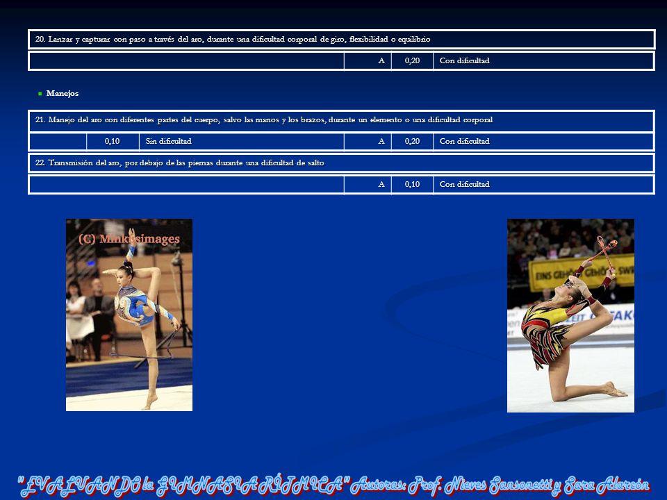 20. Lanzar y capturar con paso a través del aro, durante una dificultad corporal de giro, flexibilidad o equilibrio A0,20 Con dificultad Manejos 21. M
