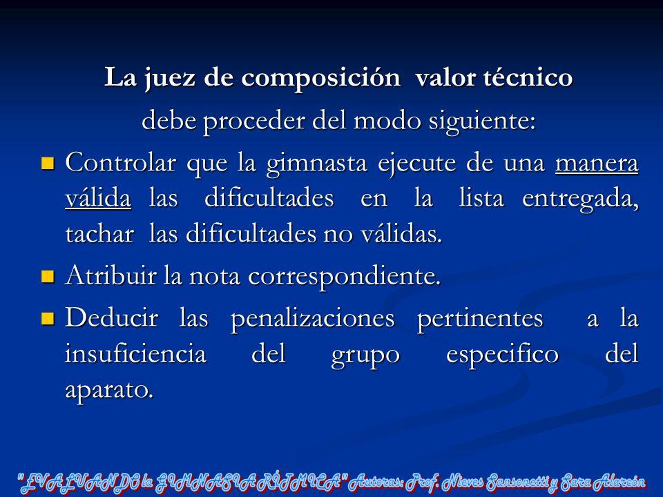 La juez de composición valor técnico debe proceder del modo siguiente: Controlar que la gimnasta ejecute de una manera válida las dificultades en la l