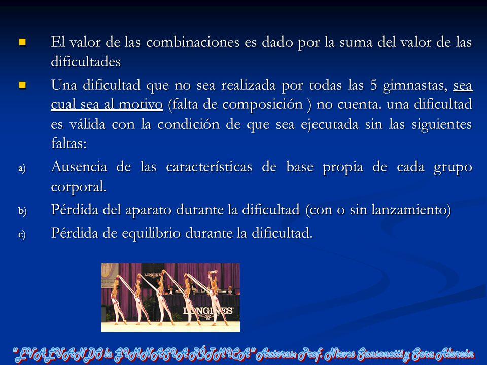 El valor de las combinaciones es dado por la suma del valor de las dificultades El valor de las combinaciones es dado por la suma del valor de las dif