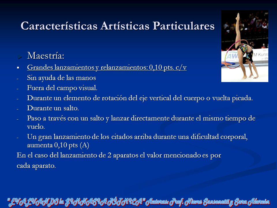 Características Artísticas Particulares Maestría: Grandes lanzamientos y relanzamientos: 0,10 pts. c/v Grandes lanzamientos y relanzamientos: 0,10 pts