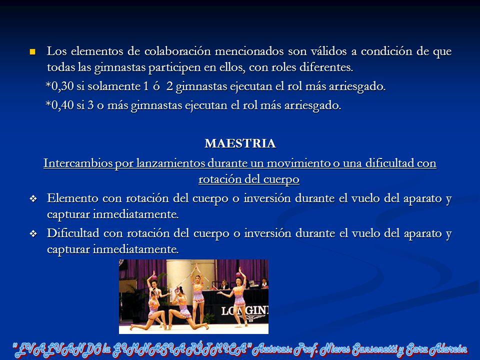Los elementos de colaboración mencionados son válidos a condición de que todas las gimnastas participen en ellos, con roles diferentes. Los elementos