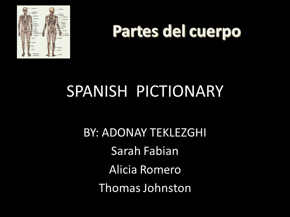 SPANISH PICTIONARY BY: ADONAY TEKLEZGHI Sarah Fabian Alicia Romero Thomas Johnston