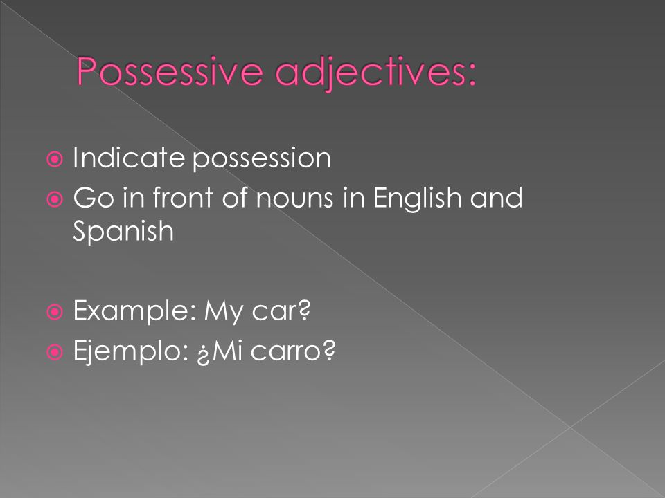 Indicate possession Go in front of nouns in English and Spanish Example: My car.