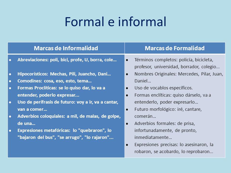 Formal e informal Marcas de InformalidadMarcas de Formalidad Abreviaciones: poli, bici, profe, U, borra, cole… Hipocorísticos: Mechas, Pili, Juancho,