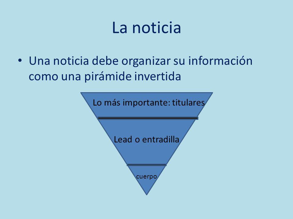 La noticia Una noticia debe organizar su información como una pirámide invertida Lo más importante: titulares Lead o entradilla cuerpo