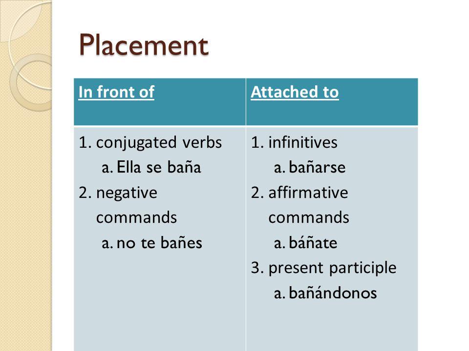 Placement In front ofAttached to 1.conjugated verbs a.Ella se baña 2.negative commands a.no te bañes 1.infinitives a.bañarse 2.affirmative commands a.