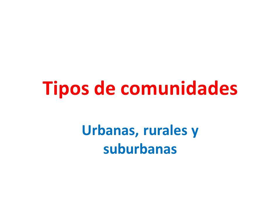 Tipos de comunidades Urbanas, rurales y suburbanas