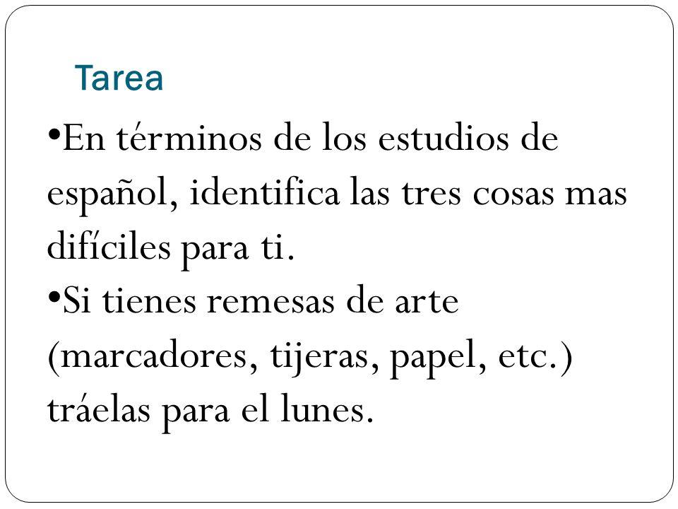 Tarea En términos de los estudios de español, identifica las tres cosas mas difíciles para ti.